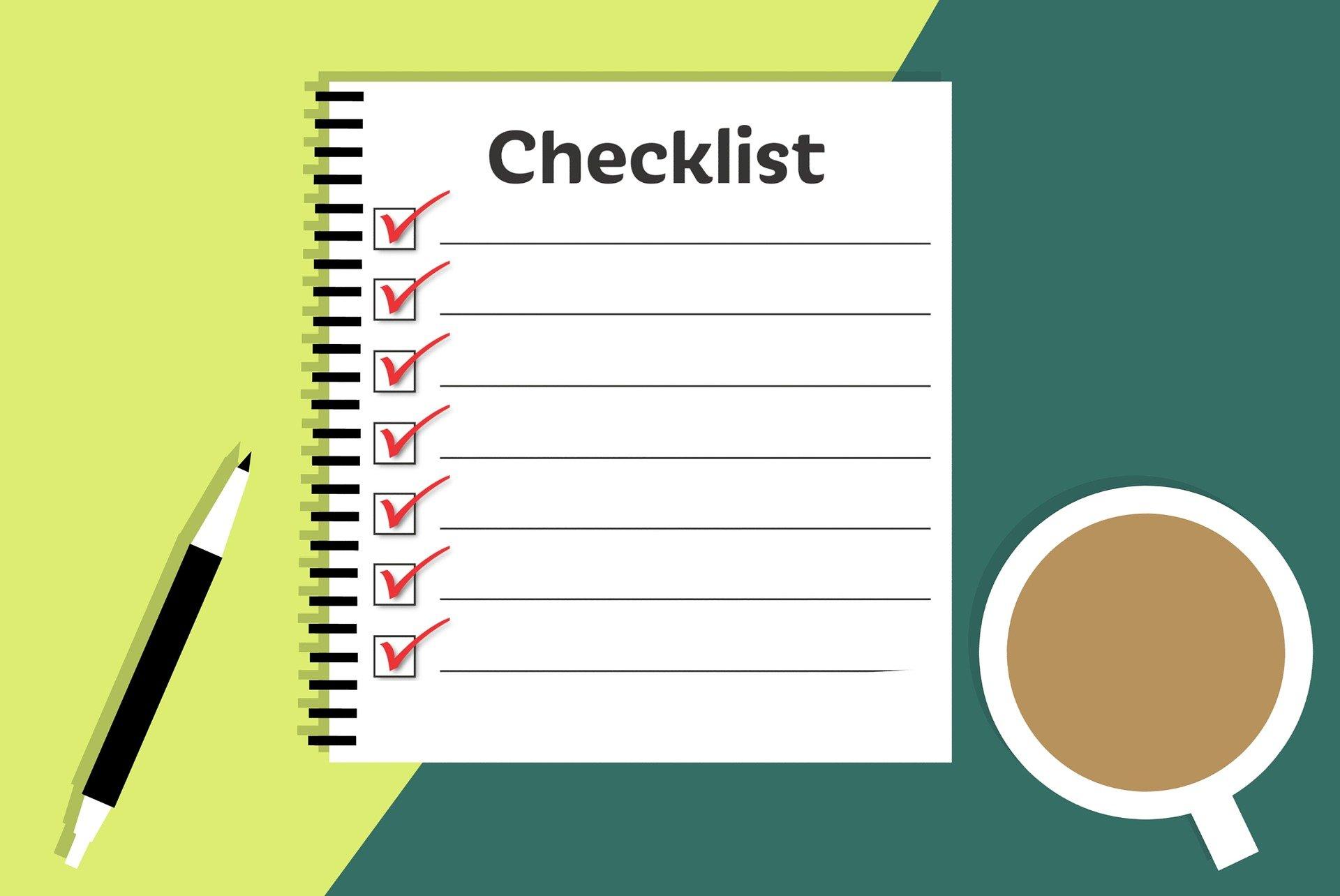 Image d'une check-list avec des éléments cochés